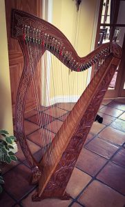 The Mid East harp that Jane often uses when playing at weddings held in smaller venues