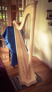 The Salvi Celtic harp that Jane often uses at weddings being held in smaller venues